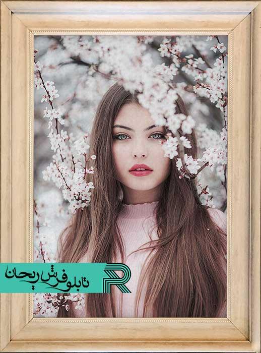تابلو فرش چاپی عکس شخصی با قاب طلایی پی وی سی | چاپ تابلو فرش