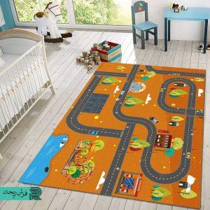 فرش ماشینی | فرش اتاق کودک | فرش بازی کودک | فرش سفارشی | فرش چدید | فرش نارنجی | فرش ماشین بازی |