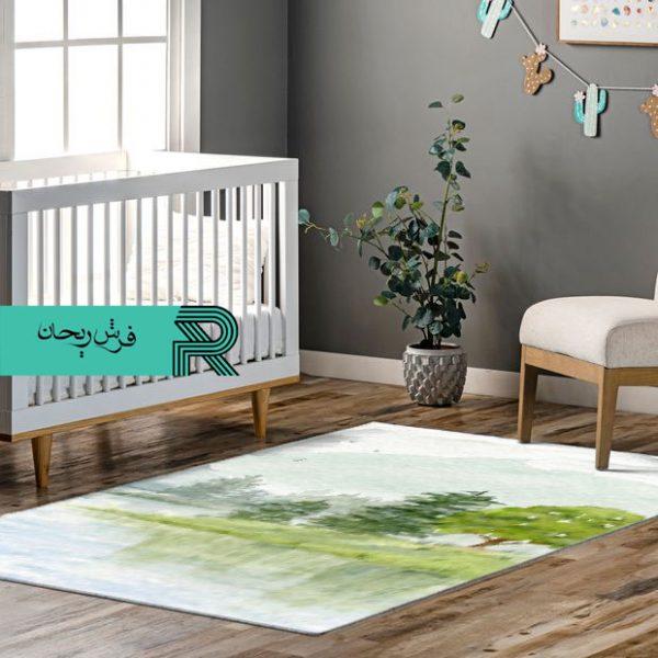 فرش ماشینی اتاق نوزاد و کودک طرح آرامش سبز درختان آبرنگی و سایه در آب