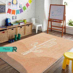 فرش اتاق کودک و نوزاد طرح کاکتوس زمینه ساده رنگ پاستیلی