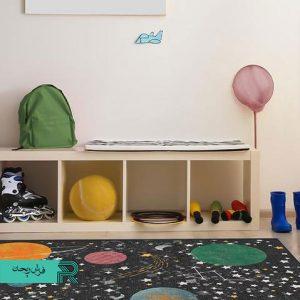فرش ماشینی اتاق نوزاد و کودک طرح کهکشان