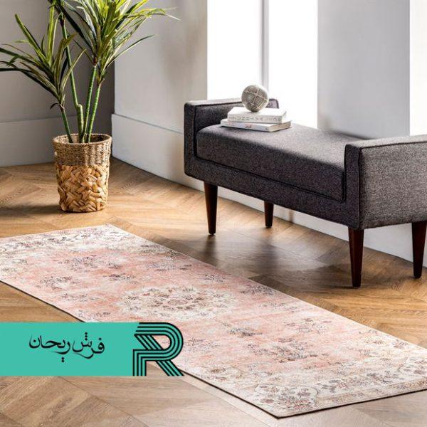 فرش کهنه نما وینتیج قدیمی شده زمینه گلبهی طرح روما