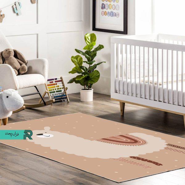 فرش ماشینی اتاق نوزاد و کودک طرح تصویر لاما