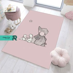 فرش اتاق کودک و نوزاد طرح فیل و خرگوش مدرن زمینه ضد حساسیت