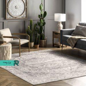 فرش کهنه نما زمینه طوسی طرح وینتیج نقره ای