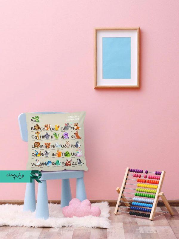 کوسن مخمل اتاق کودک طرح الفبای انگلیسی با حیوانات مرتبط کارتونی