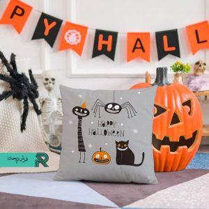 کوسن مخمل طرح دیجیتال آرت هالووین گربه و کدو و عنکبوت