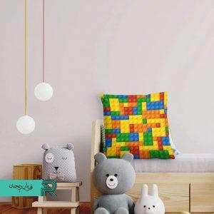 کوسن مخمل اتاق کودک طرح لگو رنگارنگ